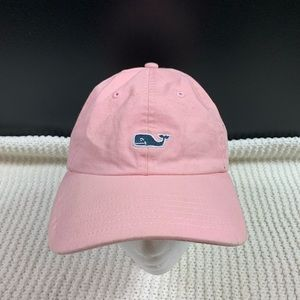 Vineyard Vines Pink Hat Blue Small Whale Logo Cap